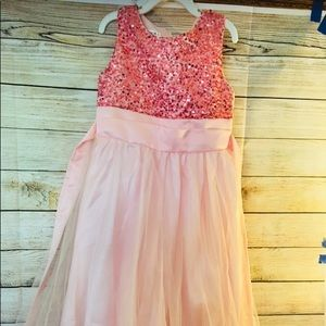 EGUC Pink Short Sleev Sequin Dress
